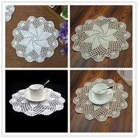 Set of 4 Round Placemats Dining Table Mats Vintage Hand Crochet Lace Doilies