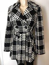Via Spiga White/Black Women's Wool Blend Coat Size S MSRP $340 Pockets 4 Bottoms