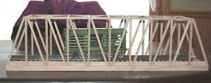 """Standard gauge handmade  solid oak wood  thru truss bridge 30"""" long USA"""