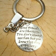 GOOD FRIENDS ARE LIKE STARS CHARM QUOTE KEYRING BEST FRIEND IN GIFT BAG