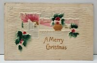 Christmas Heavily Embossed Airbrushed Germany Postcard B14