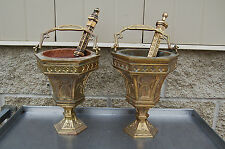+ Old Gothic Holy Water Bucket & Sprinkler (#1048 A or B) Aspergil + chalice co.