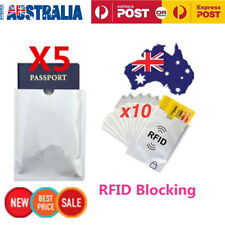 5x Passport & 10x RFID Blocking ID Credit Card Protector Sleeve Shield Holder