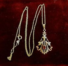 ANTIQUE 10K OSTBY & BARTON VICTORIAN LAVALIERE ROSE & GREEN GOLD 14K GOLD CHAIN