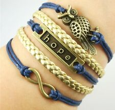 Cute Charm Bracelet Bronze Diy Sl200G New owl Infinity Love Anchor Leather