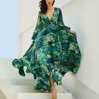 Womens Floral Print Flare Sleeve Big Hem Maxi Dress Belted Clothing Fashion New