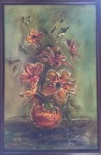 70's Green Orange Yellow Vintage Textured Oil On Canvas Floral Framed Signed