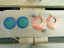 Fair Trade Hand Made Indian Metal Womens Earrings Pink Turquoise Round