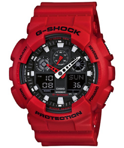 New Casio G-Shock GA100B-4A Analog-Digital Red Resin Black Dial Watch