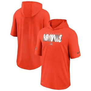 NIKE CLEVELAND BROWNS NFL SIDELINE PLAYBOOK PERFORMANCE HOODED DRI-FIT SHIRT NWT