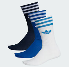 Adidas originals Socks 3 Stripes solid Crew 3 Pairs blue men women UK 8.5-11