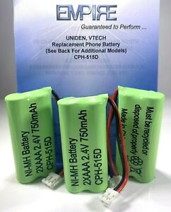3 Pack GE 36407 Cordless Phone Replacement Battery CPH-515D 2.4V 750mAh NiMH