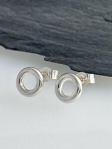 Solid Sterling Silver 925 Open Circular Ear Stud Earrings 7mm - Handmade In UK