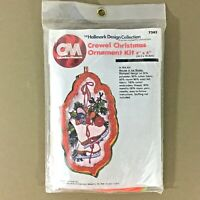 Mouse in Ice Skates vtg crewel embroidery kit Christmas ornament 70s Hallmark
