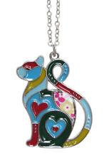 Collana, Ciondolo Simpatico Gatto Cuore Acciaio smaltata Multicolore