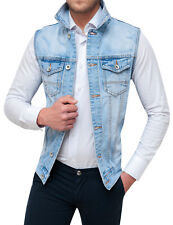 SMANICATO JEANS UOMO DIAMOND GIUBBOTTO GILET CARDIGAN SLIM FIT ADERENTE DENIM