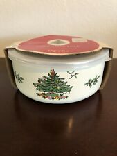 Spode Christmas Tree Metal Bowls with Lids 6pc Set Vintage Unused
