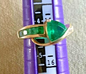 10K SIGNED F.D. YELLOW GOLD EMERALD DIAMOND RING SIZE 4.5 USA