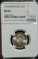 1914 Leu ,ROMANIA NGC MS 65