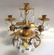 VTG ITALY TAG REGENCY GOLD METAL TOLEWARE CANDLE HOLDER EPERGNE, ROSES CRYSTALS