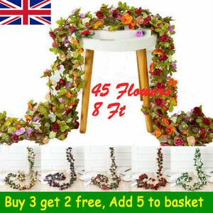 45 Flowers 8Ft Artificial Silk Rose Flower Hanging Garland Vine Wedding Decor LL