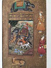 Original Indian Miniature Painting Royal Tiger Hunting Scene Rajput Rajasthani