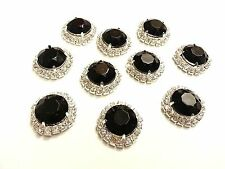 MT72BK- 10pc 22mm BLACK Crystal Diamante Rhinestone Wedding Topper Buckle Button