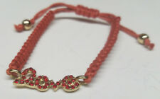""" LOVE "" Fashion GOLD CHARM  BRAIDED ROPE BRACELET  w/ RUBY RED RHINESTONES  New"
