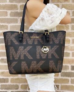 Michael Kors Jet Set Travel Medium Carryall Tote Black Brown Graphic Logo MK