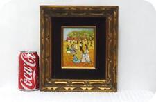 Pretty Oil by L. KOHN On Board Landscape Painting People~Gold Black Wood Frame
