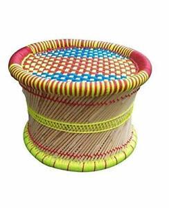 Handcraft Cane Mudha Stool Outdoor/Indoor/Furnishing/Color MULTICOLOUR Vintage