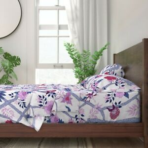 Purple Chinoiserie Red Peonies Orchid 100% Cotton Sateen Sheet Set by Roostery