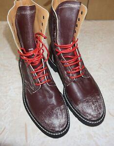 Maison Margiela Mens Burgundy Leather Worn Effect Boots size 10 (43 EU)