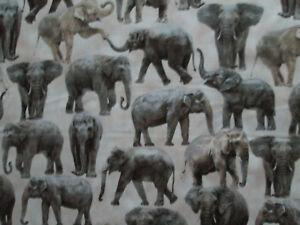 Snuggy Flannel Elephants Fabric BTY