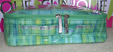 New Clinique Green Patent Cosmetic Makeup Bag Case with Handle