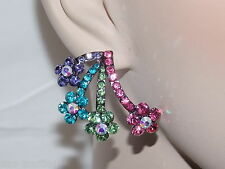 ADORABLE MULTICOLOR CRYSTAL FLOWER EARRING