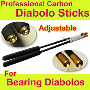 Professional Handmade Diabolo Sticks CARBON Hand Sticks String Adjustable