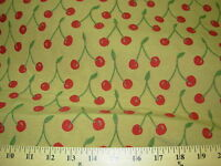 """~2 YDS """"CHERRIES FRUIT""""~WOVEN UPHOLSTERY FABRIC~FABRIC FOR LESS~"""