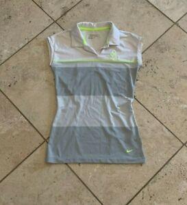 Women's Nike Golf Dri-Fit  Multicolor Striped Sleeveless Polo Shirt Size XS