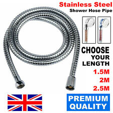SHOWER HOSE 1.5/2/2.5M FLEXIBLE STAINLESS STEEL CHROME BATHROOM STANDARD PIPE UK