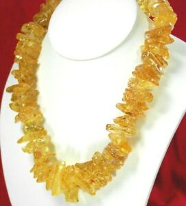 """Natural Amber Nugget Large Silver Necklace 19"""" l Golden Necklace FREE SHIPPING"""