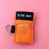 2 pcs CPR MASK KEYCHAIN WITH CPR FACE SHIELD AED Orange CPR 30:2