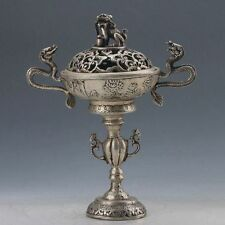 EXQUISITE WORKMANSHIP CHINA SILVER COPPER HAND MADE 2 DRAGON INCENSE BURNER