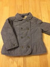 Girls Baby Gap Quilted Grey Jacket Coat - 3 Years