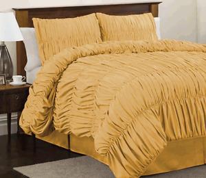 Scala bedding Gathered Ruffle 5pc Duvet Cover Set 800TC Egyptian Cotton All Size