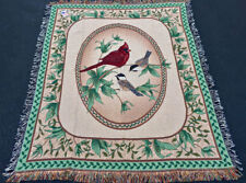 Birds of A Feather Cardinal & Chickadees Tapestry Afghan Throw