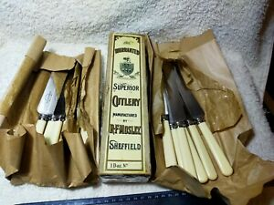Vintage Knives R.F Mosley Faux Bone Handled Rare Boxed Set of 12 Collectible