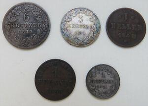 Hessen-Darmstadt, 6 Kreuzer 1847, 3 Kr. 1848, Kr. 1871, Heller 1849, Pfg 1858