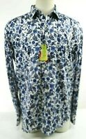 Robert Graham Hampshire NWT $198 Men's Wild Floral Dress Shirt Size XL Navy Blue