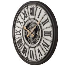 29-Inch Industrial Gear Wall Clock Antique Metal Frame Vintage Roman Numerals